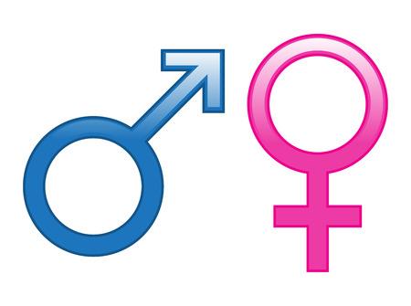 Glossy Male Female Icons Ilustrace