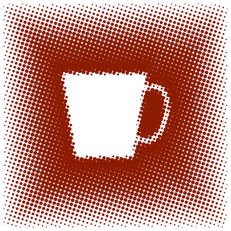 Halftone Styled Coffee Cup Ilustrace
