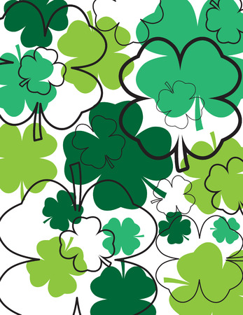 Clovers and Outlines Decorative Background Ilustrace