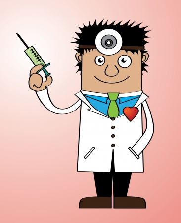 Represent a doctor holding a syringe with heart shape pin on his cloth Vector