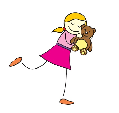 A blonde girl in a pink who love her brown teddy bear so much  She always carry the teddy every where she go Stock Vector - 14633630
