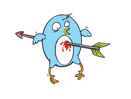unlucky: file showing unlucky flying blue bird which is attacked by an arrow on its chest