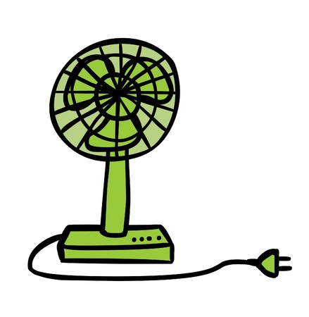 ventilator: Represent an electric green fan cartoon