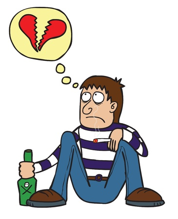 emotional love: A sad break heart guy drinking and smoking alone