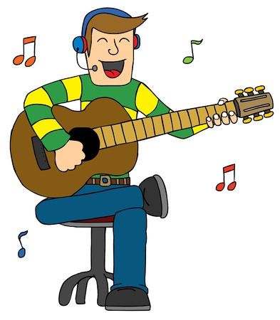 guy playing guitar: Represent a man Singing with Guitar