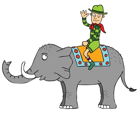 A man riding an elephant Vector