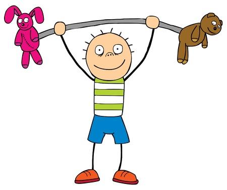 hijos: Un niño feo levantar dos marionetas Bueno capas Vectores