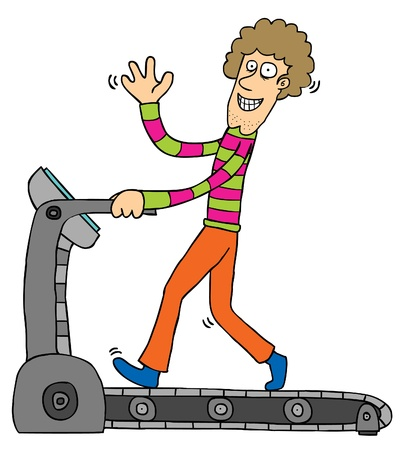treadmill: Represent a smiling guy using a treadmill   Well layered eps 8 Illustration