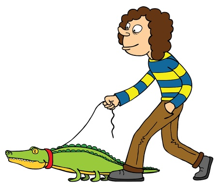 A man walking with his pet  Crocodile   Well layered eps 8 Stock Vector - 14807506