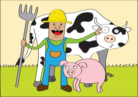 A farmer and his friends  cow and pig  at his farm  - well layered vector  ai10 file Vector