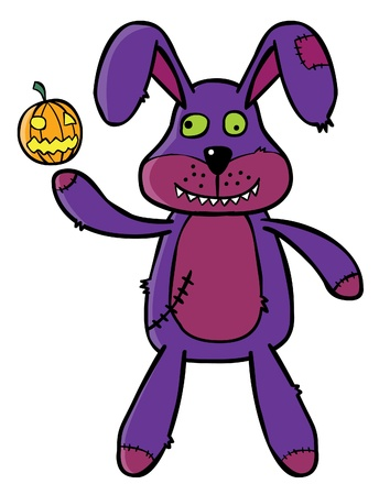 Represent a Bad Bunny puppet showing up a tiny Pumpkin     Well layered vector illustration in eps 8 file Stock Vector - 14807504