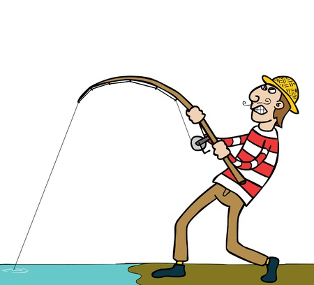 a fishing guy well layered eps 8 with clipping mask Vector Illustration