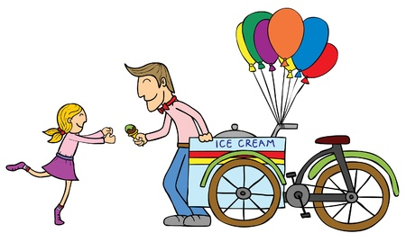 A man giving an ice cream cone to a blonde little girl   well layered eps 8 Vector