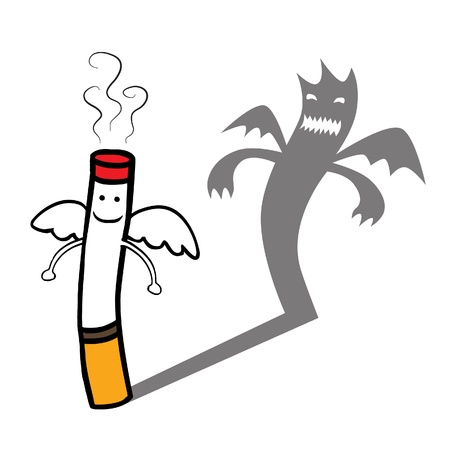 Represent a smiling good innocent and angelic looking cigarette character but have evil shadow behind  Well layered vector  AI10 file with transparency effect