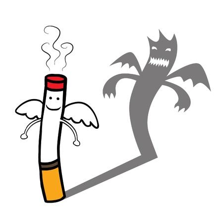fumando: Representa una buena sonrisa inocente y angelical personaje en busca de cigarrillos, pero tienen mala sombra detrás de vector Bueno capas AI10 archivo con efecto de transparencia Vectores
