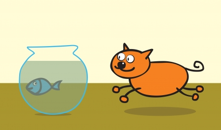approaching: A happy orange cat approaching a poor blue fish in a fish tank  use transparency effect in well layered vector file  ai10