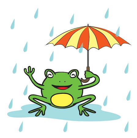 Represent a happy frog holding an umbrella in the rain  There are rain drops around the frog  The rain drops use transparency effect  This vector  ai10 file is editable and well layered  Vector