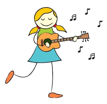 Mostrando una niña feliz jugando una ilustración vectorial de guitarra en AI8 archivo