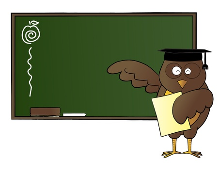 Represent an owl holding a paper, and teaching in front of a classroom  - Gradient effect applied for the board and the owl  - Vector  ai10 file is editable and well layered  Vector