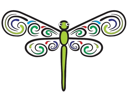 dragonfly wings: Represent a green dragonfly which have colorful wings  Well layered vector  ai10 file