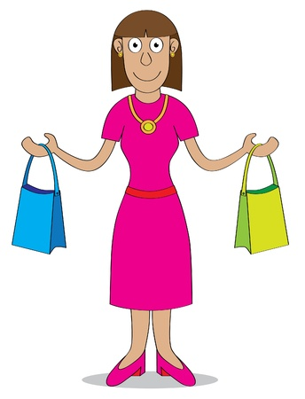 carries: A woman after shopping carries two bags   Features  - well layered vector file for easy color changes - saved as an AI10-compatible EPS Illustration
