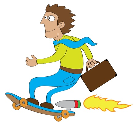 booster: Represent a businessman using turbo machine skateboard to go to his office   features  - well layered vector file - saved as an AI10-compatible EPS