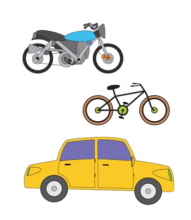 motorcycle wheel: A set of transportation consist of blue motorcycle, black bicycle, and a yellow car  Well layered vector  ai10 file for your project     Illustration