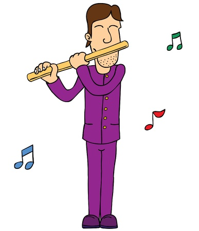 flute: A guy in purple playing flute   Well layered eps 8