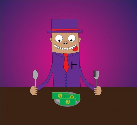 easy money: A man with hat ready to eat a plate of money on table   Features  - well layered vector file for easy color changes - saved as an AI10-compatible EPS - using gradient effect