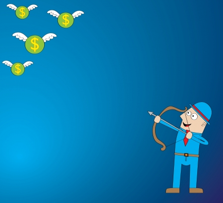 Represent a man in blue background hunting for flying money  symbol of wealthy   Features  - well layered vector file for easy color changes - saved as an AI10-compatible EPS - using gradient effect - using transparency - using scribble style - using char Stock Vector - 14807379