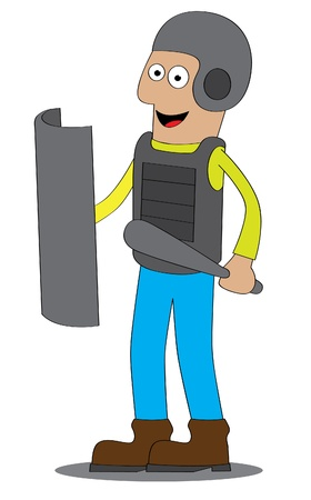 body guard: Represent a man in the police uniform are standing and ready for his job   Features  - well layered vector file for easy color changes - saved as an AI8-compatible EPS