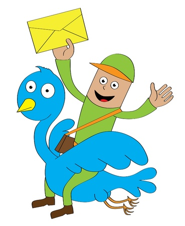 A postman sending letters by riding a flying blue bird  Features  - well layered vector file for easy color changes - saved as an AI10-compatible EPS Vector