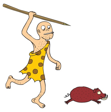 A prehistoric guy with spear run after a jungle pig   Well layered eps 8 Vector