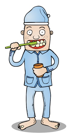 Represent a man in pajama ready to go to sleep after brushing his teeth   available in eps 8 vector file