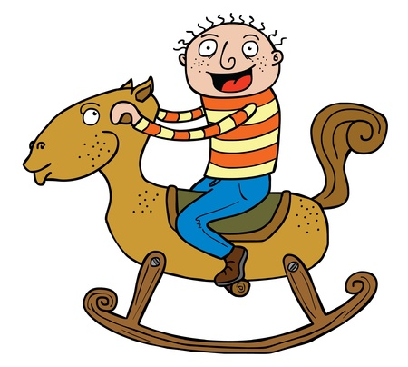 exciting: The boy is really exciting riding the wooden horse   Well layered eps 8 vector file