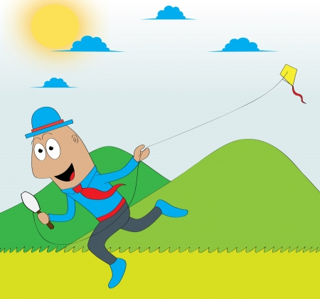 A worker playing kite  Features  - well layered vector file for easy color changes - saved as an AI10-compatible EPS - using gradient for the sky - using blur effect for the sun Vector