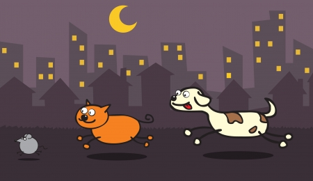 Represent a dog trying to catch a cat, and the cat trying to catch a mouse in a city night