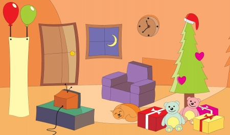 vector illustration of a living room with TV turn on at Christmas Eve  well layered vector, and editable vector file  ai8 Stock Vector - 14807307