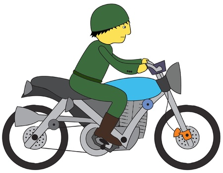 Represent a soldier riding a motorcycle  Vector  ai10 file is well layered  Vector
