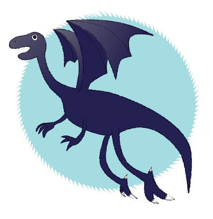 Represent a flying Ice Dragon  - well layered vector file - saved as an AI10-compatible EPS - using gradient effect - using transparency - using scribble style - Using charcoal-feather brush  expanded  as the outline Stock Vector - 14807348