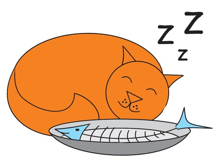 cat eating: A sleeping cat after eating a fish   EPS 10