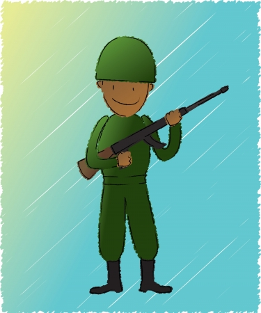 riffle: A soldier holding his riffle   - well layered vector file for easy color changes - saved as Vector EPS 10 - using gradient effect - using scribble style - using charcoal-feather brush  expanded  as the outline Illustration