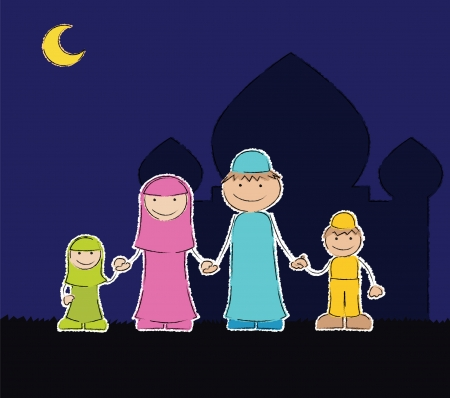 ex: Represent family members of Muslim  father, mother, daughter, and son  with mosque background in the outdoor night  - well layered vector file - saved as an AI10-compatible EPS - using transparency - using scribble style - Using charcoal-feather brush  ex
