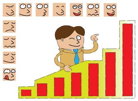A businessman standing behind a graphic analysis board pointing the highest chart ,and surrounded by face expressions  Help him to find the best expression by dragging them one by one onto his face  - vector  ai10 eps file  - well layered - gradient effec Vector