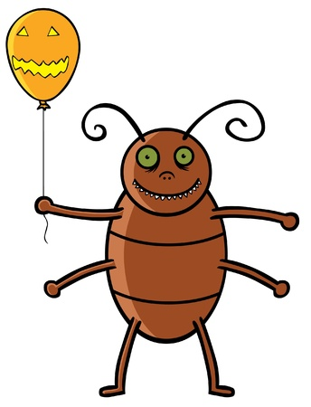 Cockroach holding Halloween ballon Vector