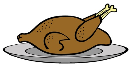 Delicious Chicken on Plate Vector