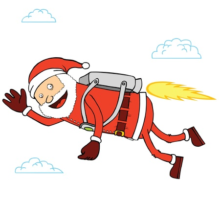 Flying Santa Claus Stock Vector - 15669053