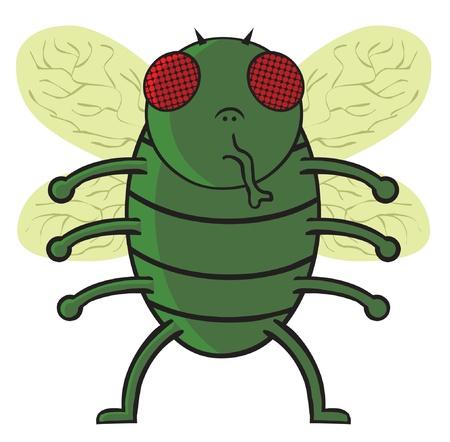 mosca caricatura: mosca verde