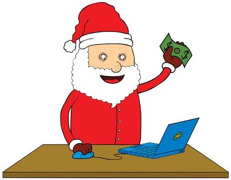 man with laptop: Santa Claus doing online shop
