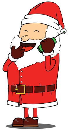 Santa Claus talking on phone Vector